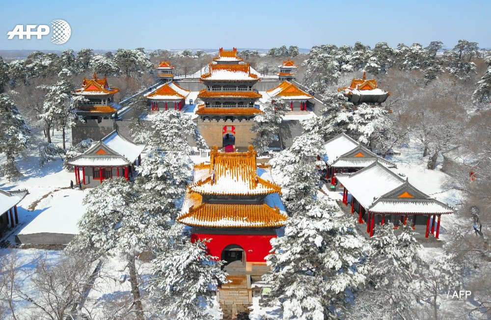 Frozen in time:  snowfall covers UNESCO World Heritage-listed Zhaoling (Beiling) Park, site of a 17th century Qing imperial tomb, in Shenyang, China