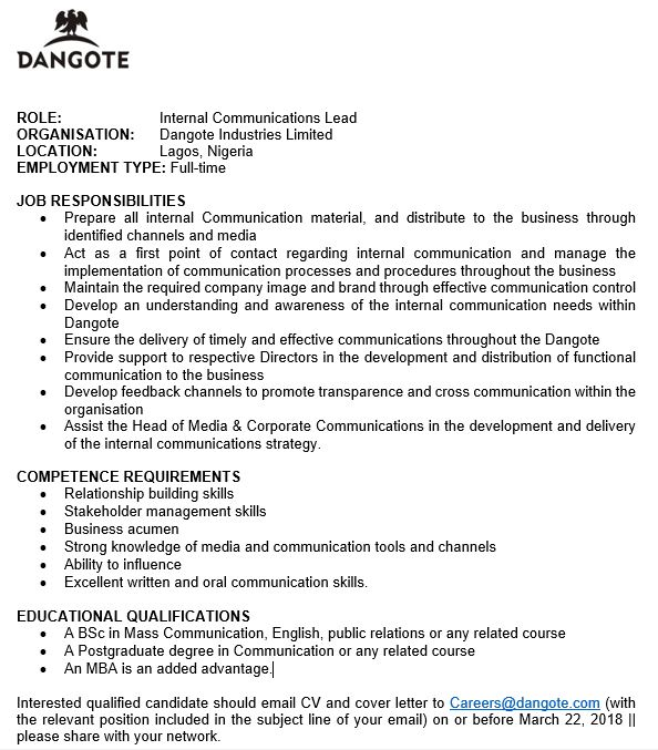 Dangote Group On Twitter We Are Hiring Role Internal