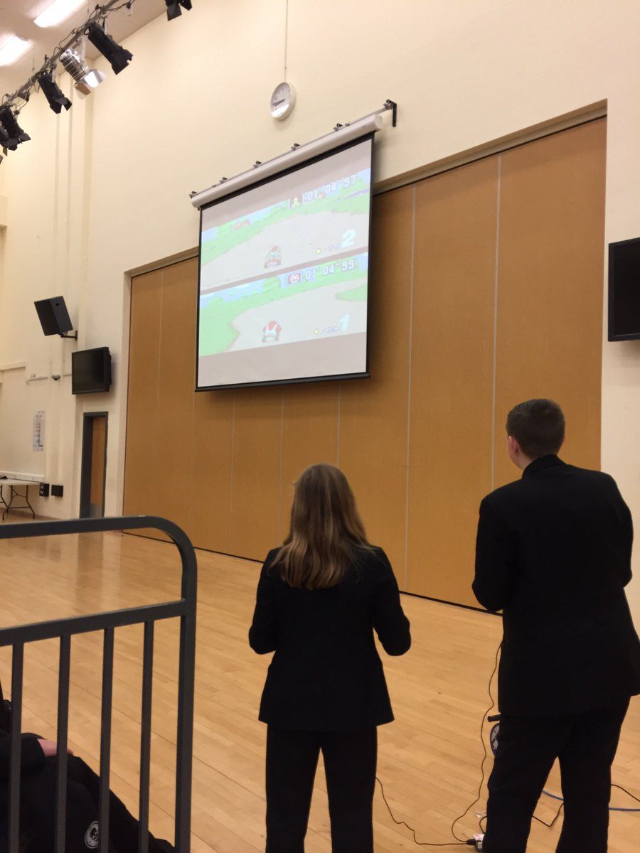 Well done to all our students who had 96%+ attendance last term! Here we have two of our Year 7 Students enjoying an attendance rewards assembly playing #mariokart ! Keep it up! #attendance #rewards