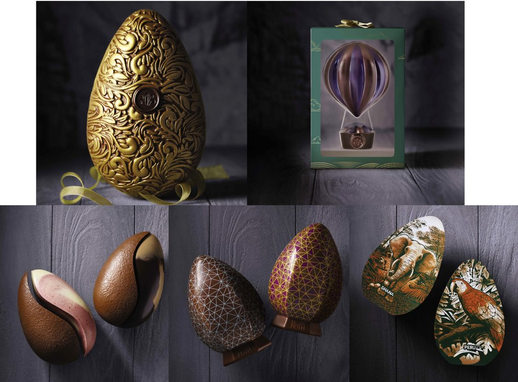 Artistic chocolate eggs