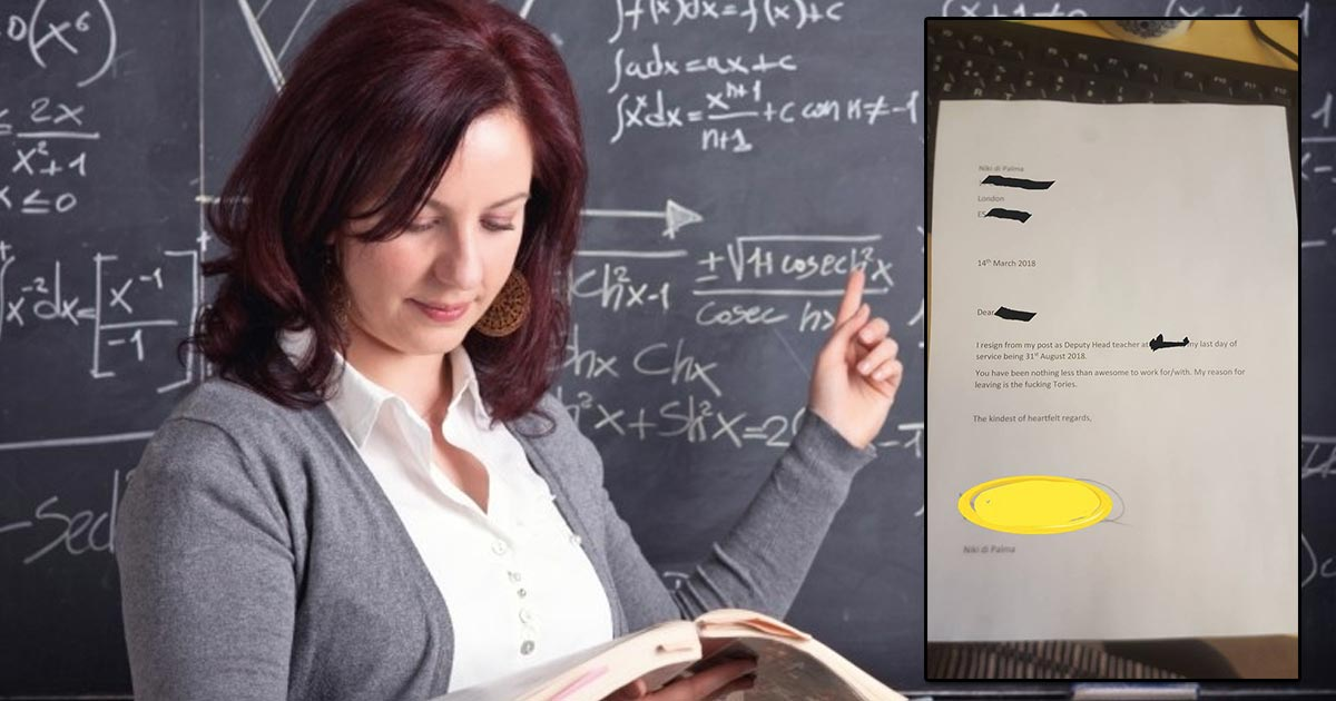 Teacher quits teaching because of the 'f...