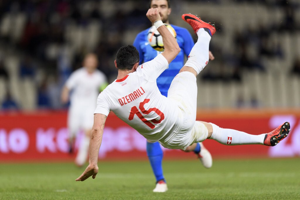A photo shows Dzemaili's acrobatic scissor-kick which proved to be the only goal in Switzerland's 1-0 win over Greece in Athens.