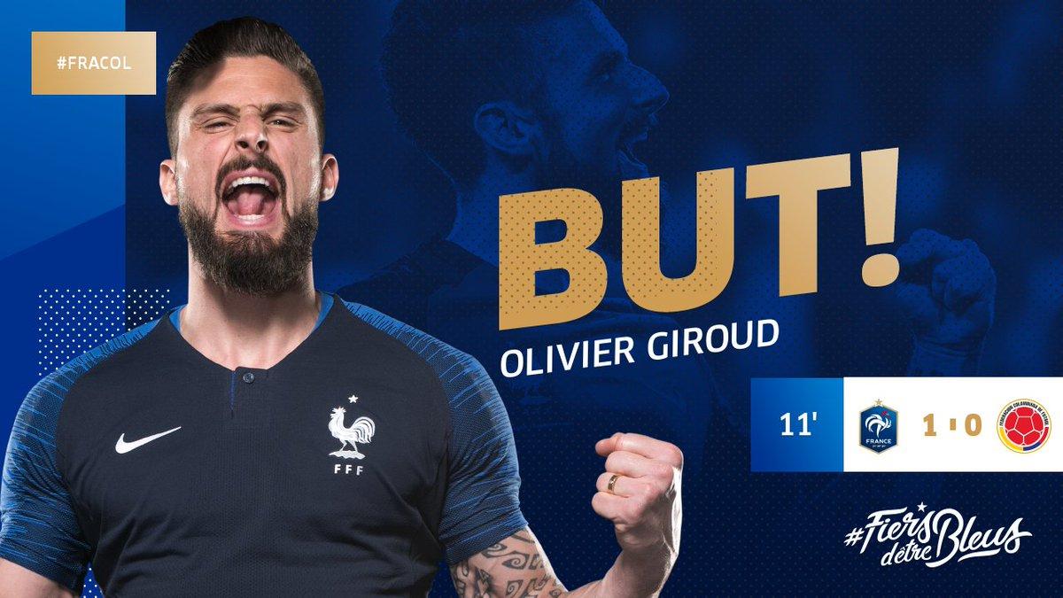 Le but d'@_OlivierGiroud_ !!!! 1-0 #FRACOL