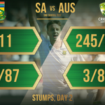 Stumps, day 2. Great day for the SA bowlers, @mornemorkel65 in particular who joined #club300 today. What are your thoughts on South Africa's performance? #ProteaFire #SAvAUS #SunfoilTest