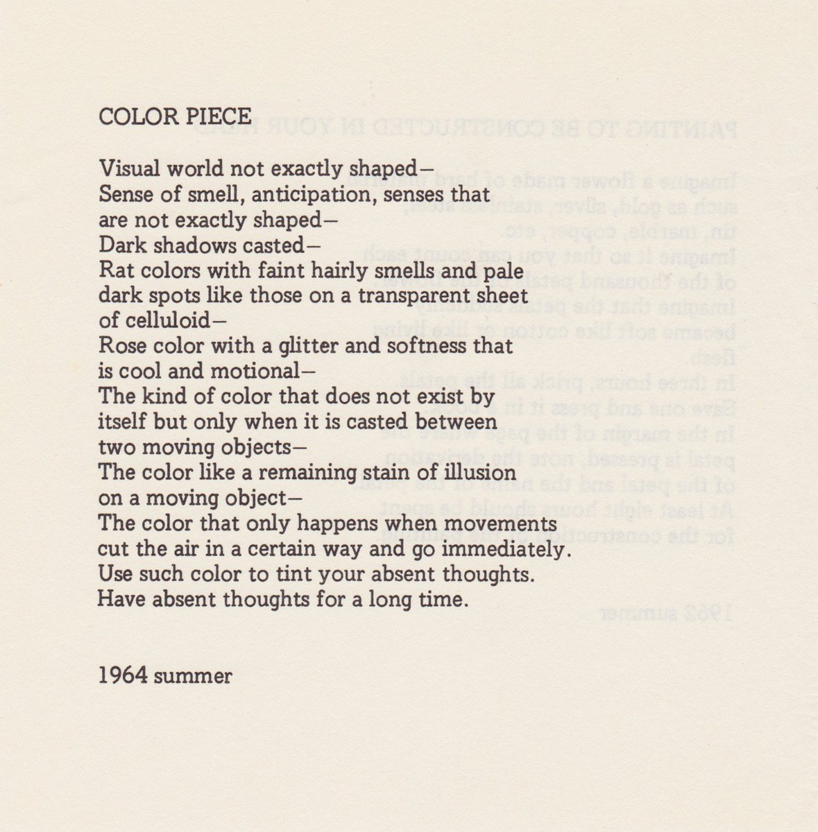 Yoko Ono On Twitter David Garland Has Created An Amazing Musical Soundtrack To My Poem Color Piece From Grapefruit It S The First Track On His New Album Verdancy Available Here Https T Co Qeegkmgk5p Congratulations