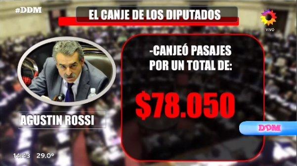 El Diputado Agustín Rossi, canjeó pasaje...