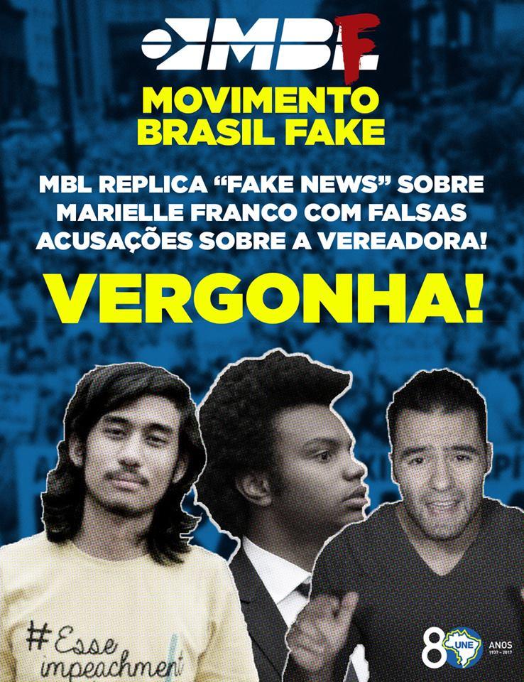 Que vergonha, MBL! Publicar 'Fake News' com o objetivo de manchar a brilhante história de luta e resistência de Marielle Franco. Entenda: https://t.co/clgx3QYPGR
