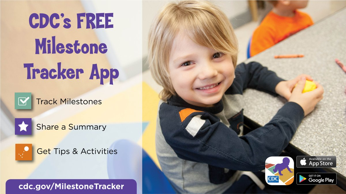 Want to learn how you can use CDC's new #MilestoneTracker app to track your child's developmental milestones? Watch our recent Facebook Live, hosted by @LovePeaceMommy: https://t.co/ulm2VdCCVO