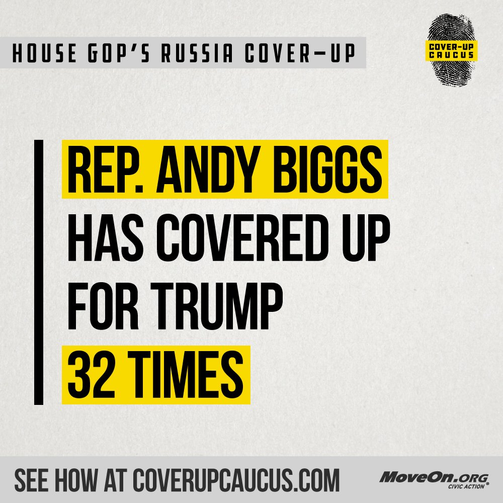 32 TIMES @RepAndyBiggsAZ?! Is your Representative part of @realDonaldTrump's #CoverUpCaucus? Find out: https://t.co/ifySaQMF05 #ProtectMueller #TrumpRussia