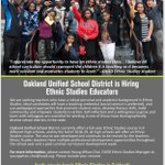 Image for the Tweet beginning: #Oakland is hiring #EthnicStudies teachers