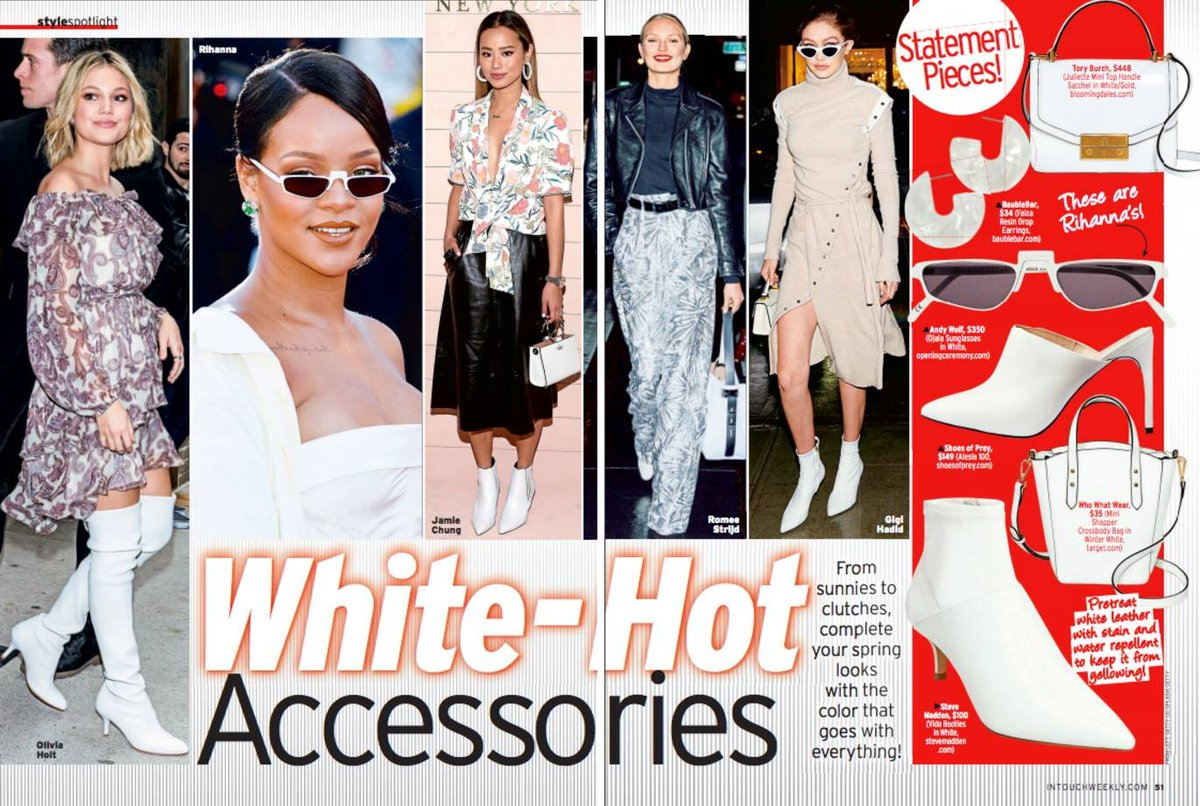 """Thanks, @intouchweekly for featuring our Alesia mules as one of your """"White-Hot"""" accessories. Click here to snag a pair for yourself: https://t.co/6SFcUbeZea https://t.co/VR3HfzlM9k"""