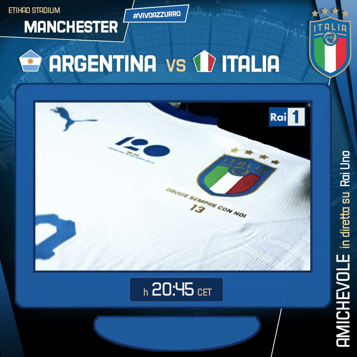 #Nazionale #Argentina  vs #ITALIA  20.45 CET  diretta tv #RaiUno #EtihadStadium, #Manchester https://bit.ly/2FZJxXg     https://bit.ly/2FZJxXg    #InternationalFriendly  - FestivalFocus