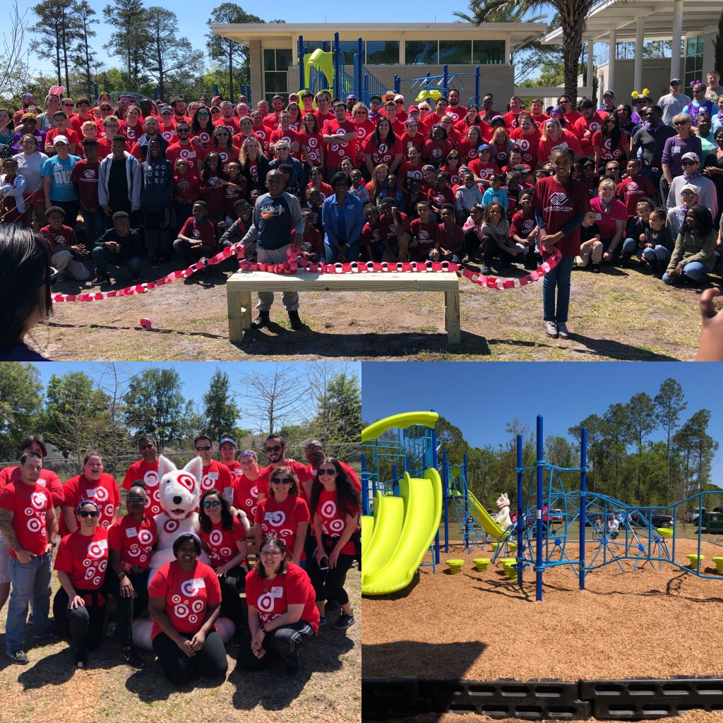 "When it comes to #community, we don't ""play around.""  Had an amazing day building a playground at #arlingtoncommunityacademy #kaboom #bgcnf #target #jaxwest #Targetvolunteers #125strong"
