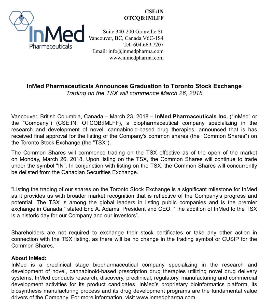Canadapotstocks On Twitter News Inmed Pharmaceuticals In