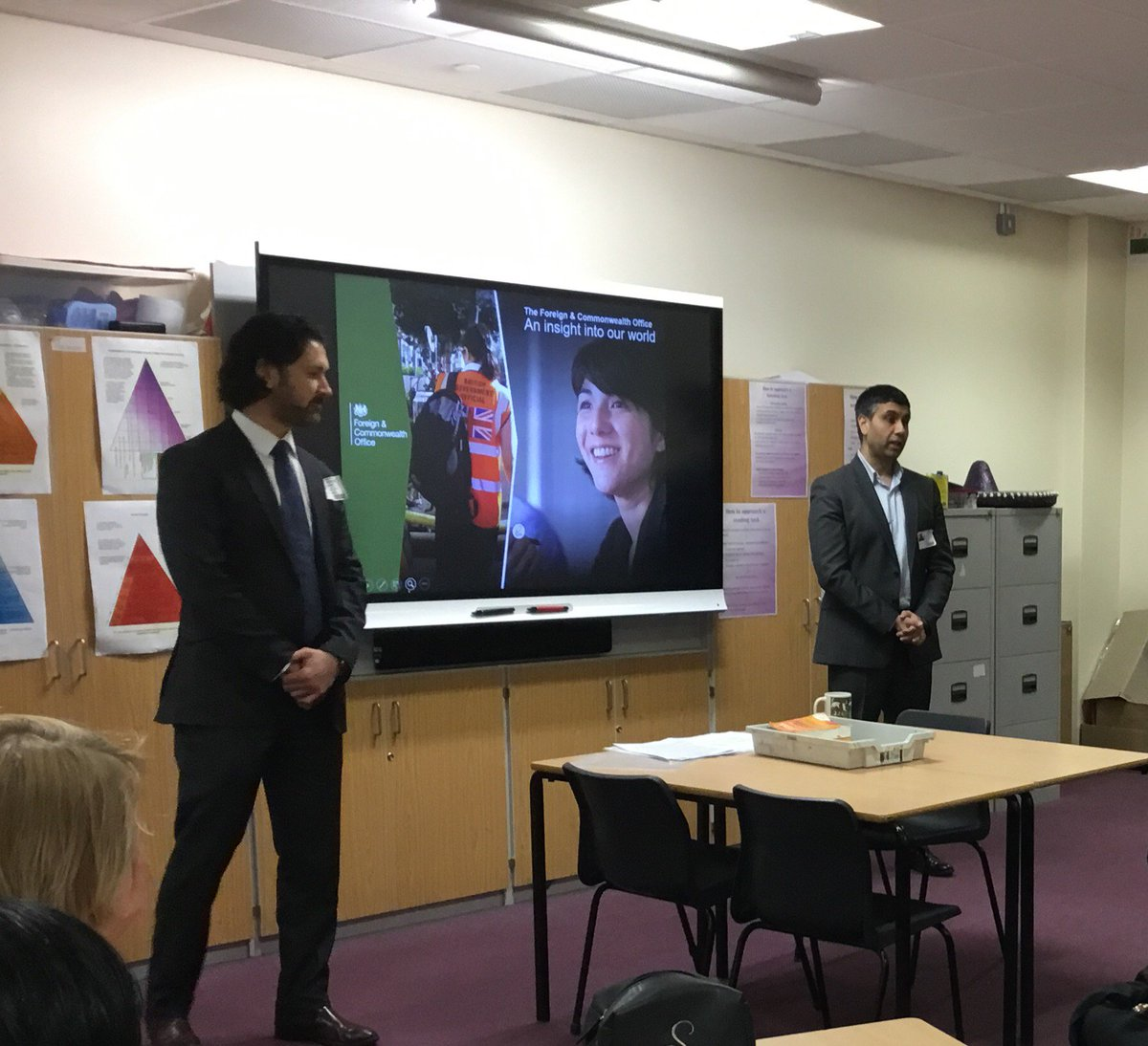Thank you to Hasan and Simon from @foreignoffice for delivering a truly inspiring talk to our students on the work of the FCO and careers in diplomacy. #Careers #AimingHigh