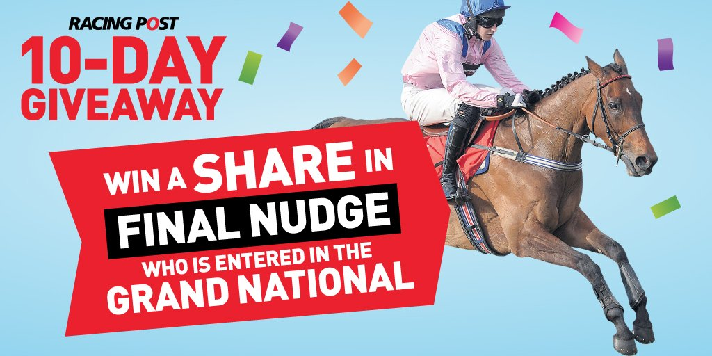 Final Nudge stayed on for 9th in the Kim Muir 🏇🏻  Could he go better in the Grand National?  You can win shares in the runner with our latest competition!   Visit https://t.co/f9dKLV8mUL for more details!   #PostPrizes 🙌🏼