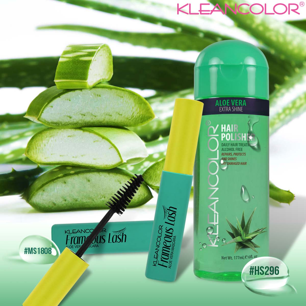 e38daa82056 Nourish lashes with our Aloe Vera infused Frameous Lash Mascara (MS1808)  and replenish dry, damaged hair using our Hair Polisher (HS296) #kleancolor  ...