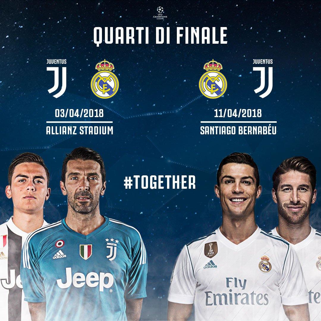 ANDATA: #JuveRM | 🏟 Allianz Stadium | 03.04.2018 RITORNO: #RMJuve | 🏟 Santiago Bernabeu | 11.04.2018 #UCLDraw 🏳🏴 #TOGETHER