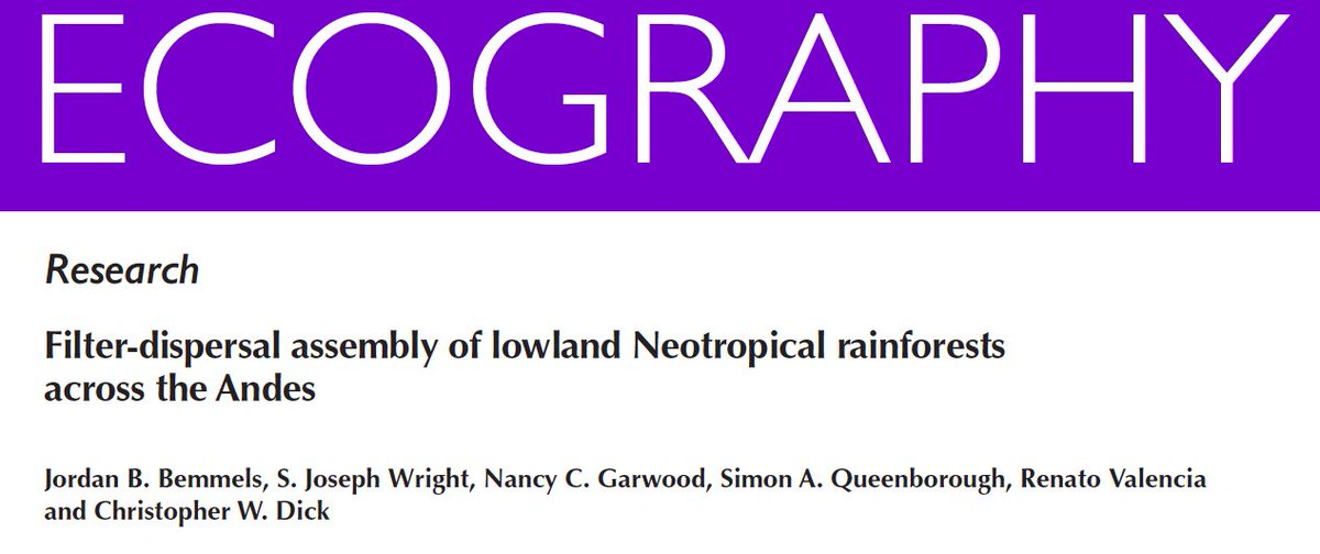 1/ Very nice study on filter-dispersal assembly of lowland Neotropical rain forests across the Andes by Jordan Bemmels, who defends his #UMichEEB PhD Dissertation next week onlinelibrary.wiley.com/doi/10.1111/ec…