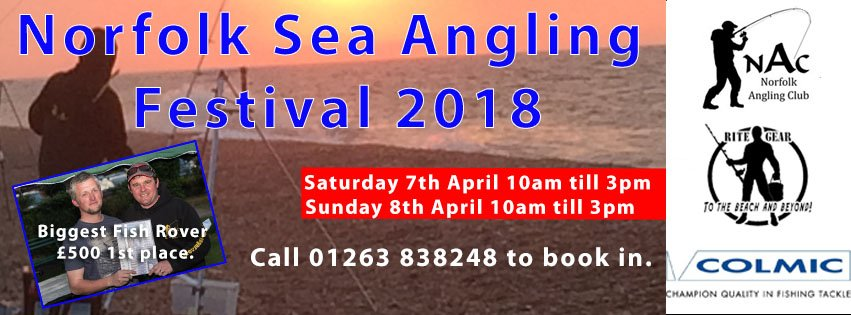 Norfolk Sea Angling Festival, Cley to Cromer | Biggest Fish roving competition, no matter how experienced an angler you are this event is open to everyone, advice and tactics are available at Rite Gear Angling Centre in West Runton | Sea Fishing Competition, Shore fishing, bass fishing