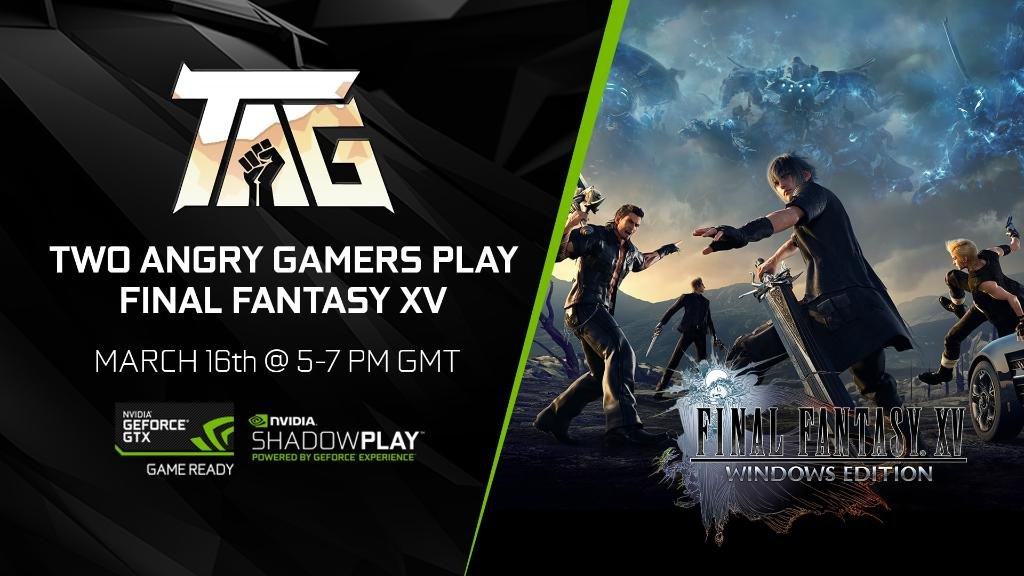 Live in 1 hour! Come watch @2AngryGamers play Final Fantasy XV Windows Edition over on our Facebook page at 5pm GMT!  Stream Link: nvda.ws/2FWn6oe