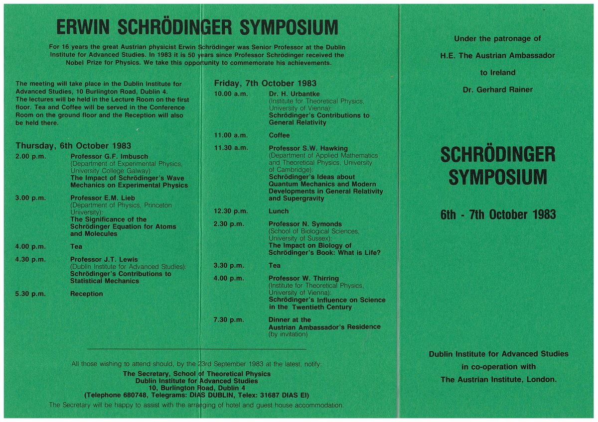 test Twitter Media - In 1983 DIAS hosted the Schrodinger Symposium to commemorate the 50th anniversary of Erwin Schrodinger's receiving of the Nobel Prize for Physics. Below is the original program, as well as the group photo from the event - which includes Prof Stephen Hawking https://t.co/uESdEtJ23O