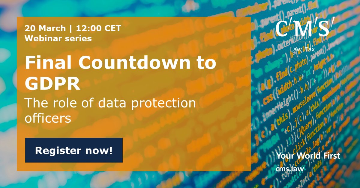 "test Twitter Media - Next in our Final Countdown to #GDPR webinar series is ""The role of data protection officers"". @CMS_TMC. Sign up now: https://t.co/On5LrkSAfK https://t.co/ceRAGDRyEw"