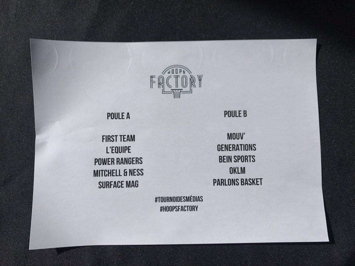 Les poules pour le #tournoidesmedias ce soir avec @nbaextra @lequipe @mouv @generations @Oklmofficial @ParlonsNBA @Surface_Mag @FirstTeam101 !   Qui va succéder à la @FirstTeam101 ? 🏆  Vidéo live du tirage au sort disponible dans notre story IG : instagram.com/hoops_factory 👀👀