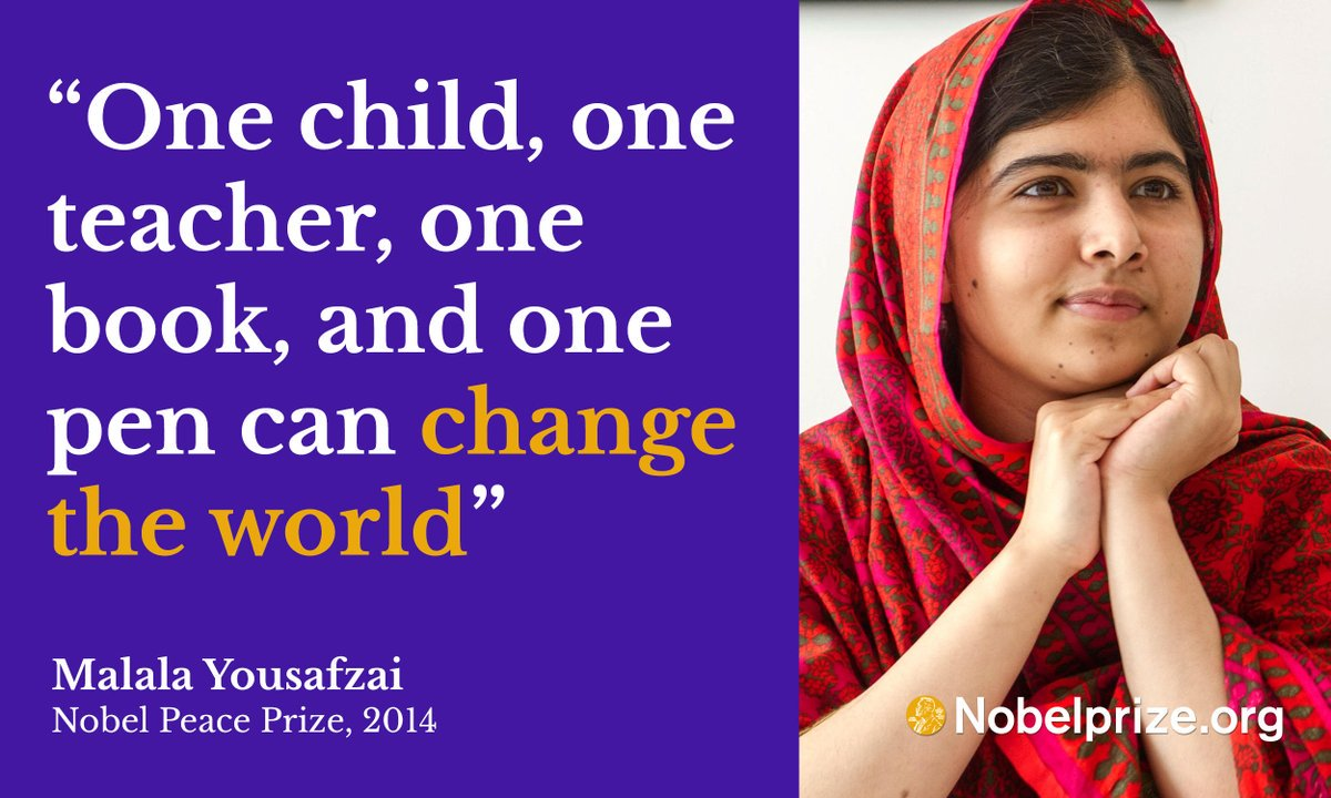 Malala Yousafzai on the power and importance of education. #NobelPrize @Malala