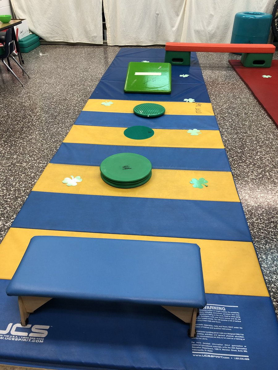 That sneaky leprechaun came to the OT room today and set up a really fun obstacle course!