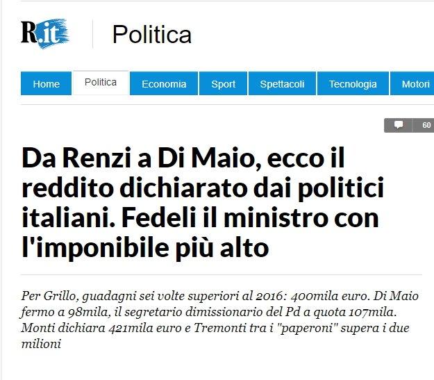 """Innocenti distrazioni: inseriscono il reddito del non-parlamentare Grillo, ma """"dimenticano"""" di indicare il reddito di Re Mida Berlusconi. Altro che fake news... http:// www.repubblica.it/politica/2018/03/16/news/da_renzi_a_di_maio_ecco_il_reddito_dichiarato_dai_politici_italiani-191456840/?ref=RHPPLF-BH-I0-C8-P2-S1.8-T1 #tagadala7 #grillo #berlusconi #reddito #Governo #salvini #DiMaio #FakeNews #Renzi  - Ukustom"""