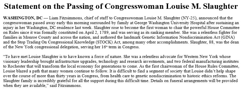 @AlexNBCNews Congresswoman Louise Slaughter, who has served New York since 1987, has died at age 88. https://t.co/LFLzp0s8tI