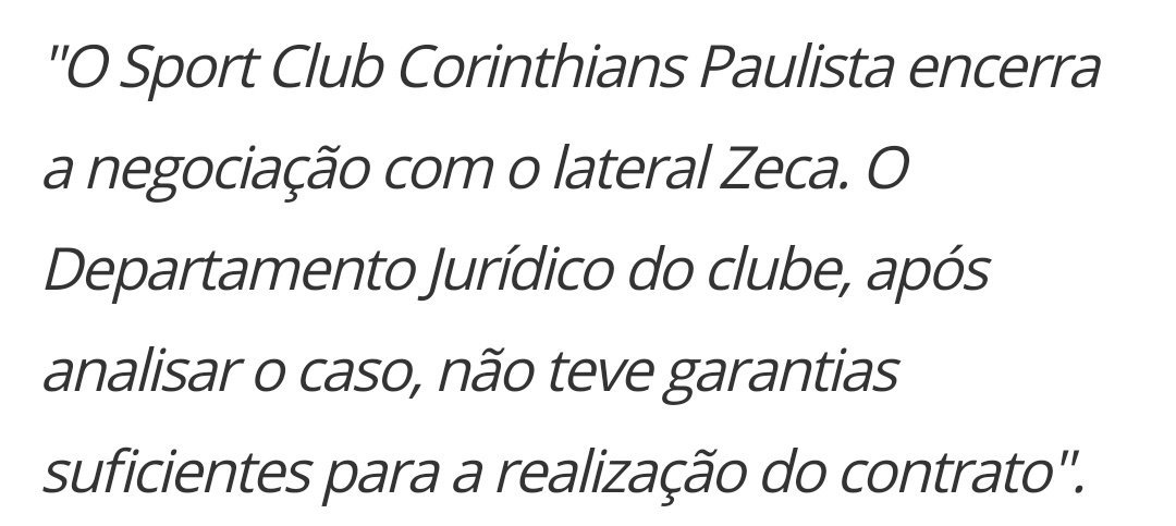 Em nota oficial, Corinthians encerra neg...