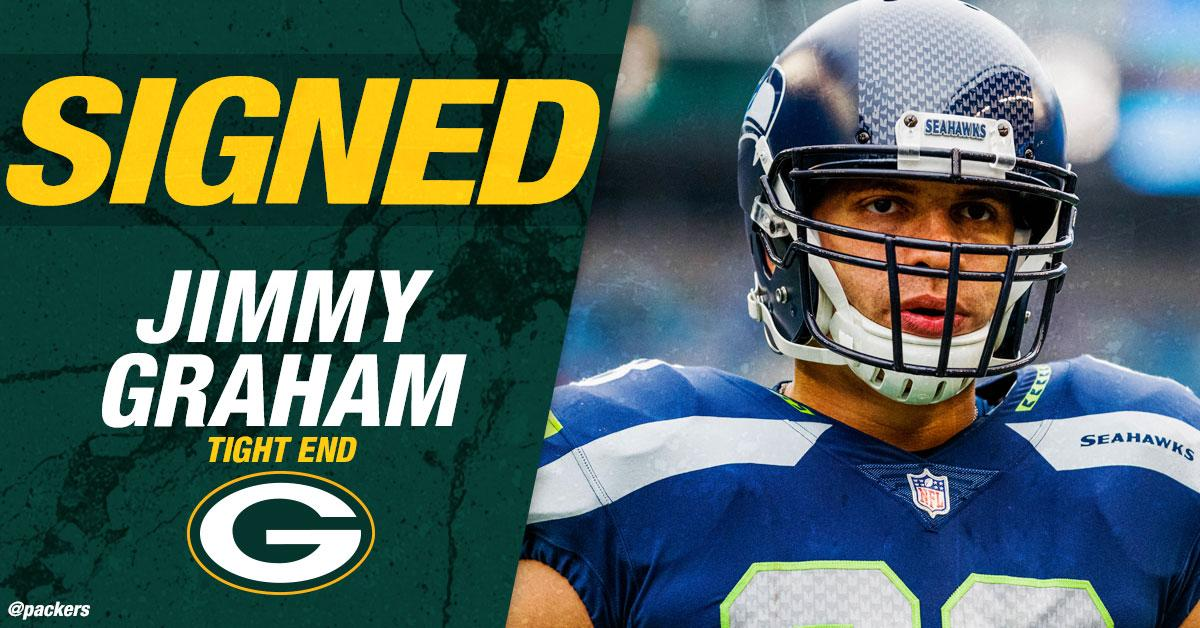 The #Packers have signed TE @TheJimmyGraham. Graham will wear No. 80 for the Packers.  ��: https://t.co/z5nzaSraFD https://t.co/cw7rDaknkU