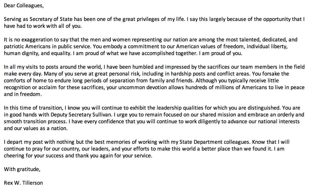 NEW: Outgoing Sec. of State Rex Tillerson sends farewell message to State Department staff.   I depart my post with nothing but the best memories of working with my State Department colleagues, he says. abcn.ws/2IxE9LS