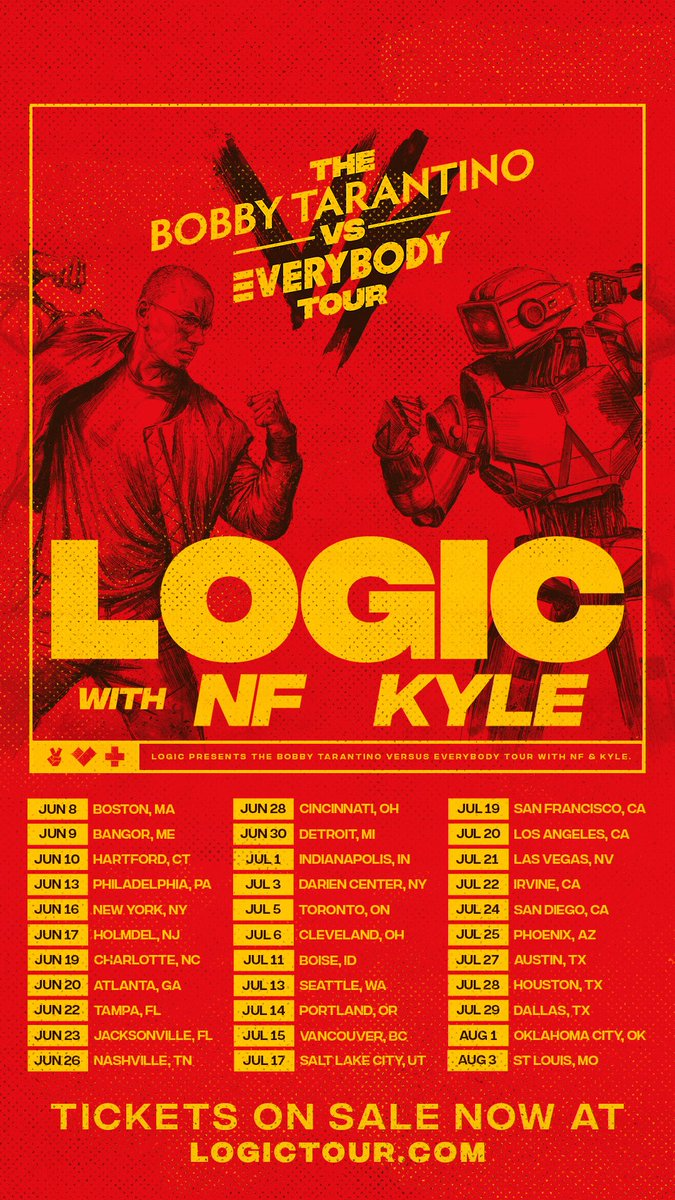 All tickets available 12 noon local time! East coast tickets on sale now! LogicTour.com