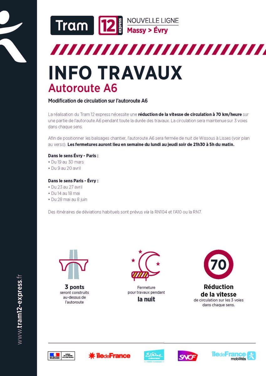 #travaux #fermetureA6 Afin de positionner les balisages chantier pour la réalisation du Tram 12 express, l'#autorouteA6 sera fermée de nuit de Wissous à Lisses. Les fermetures auront lieu en semaine du lundi au jeudi soir de 21h30 à 5h du matin et sont détaillées ici ⬇️ https://t.co/6cSzckUTDq
