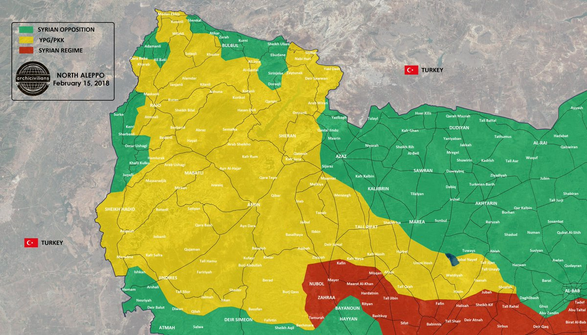 Picture of: Archicivilians On Twitter Four Maps Show The Change In Territory Control After 50 Days Of Olivebranchoperation In Afrin District In North Aleppo Syria Green Fsa Turkish Forces Yellow Ypg Sdf