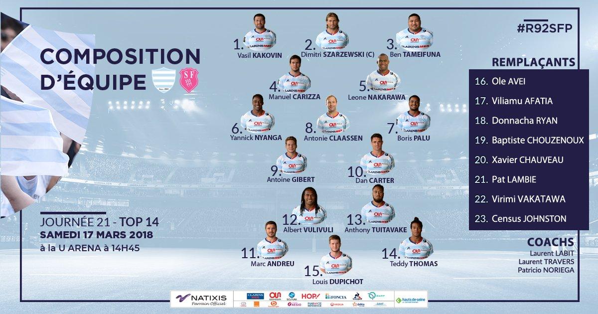 COMPO  Racing 92 vs Stade Français Paris  #R92SFP  Pour la 2️⃣1️⃣ème journée du TOP 14, découvrez le XV de départ des Ciel et Blanc qui affrontera le Stade Français demain (17/03) à 14h45 à la @UArena