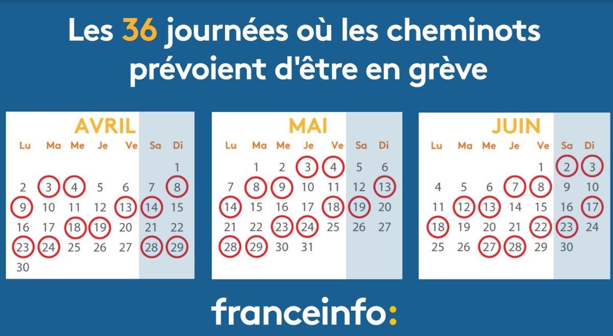 Franceinfo On Twitter Greve A La Sncf Le Calendrier Des