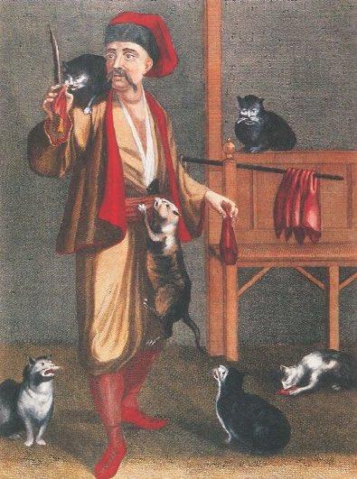 İstanbul kedileri... Van Mour'un çizgileriyle bir seyyar ciğerci ve etrafını saran sokak kedileri, 1712.