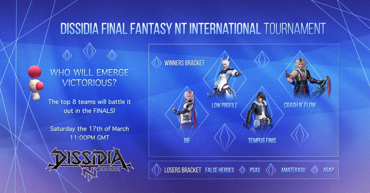 Tomorrow (17th March) at 23:00 GMT/16:00 PDT, the top 8 Teams of the unofficial Dissidia FFNT International Facebook Group Launch Tournament will fight it out to determine the ultimate team! Details can be found here 👇 sqex.to/7h2