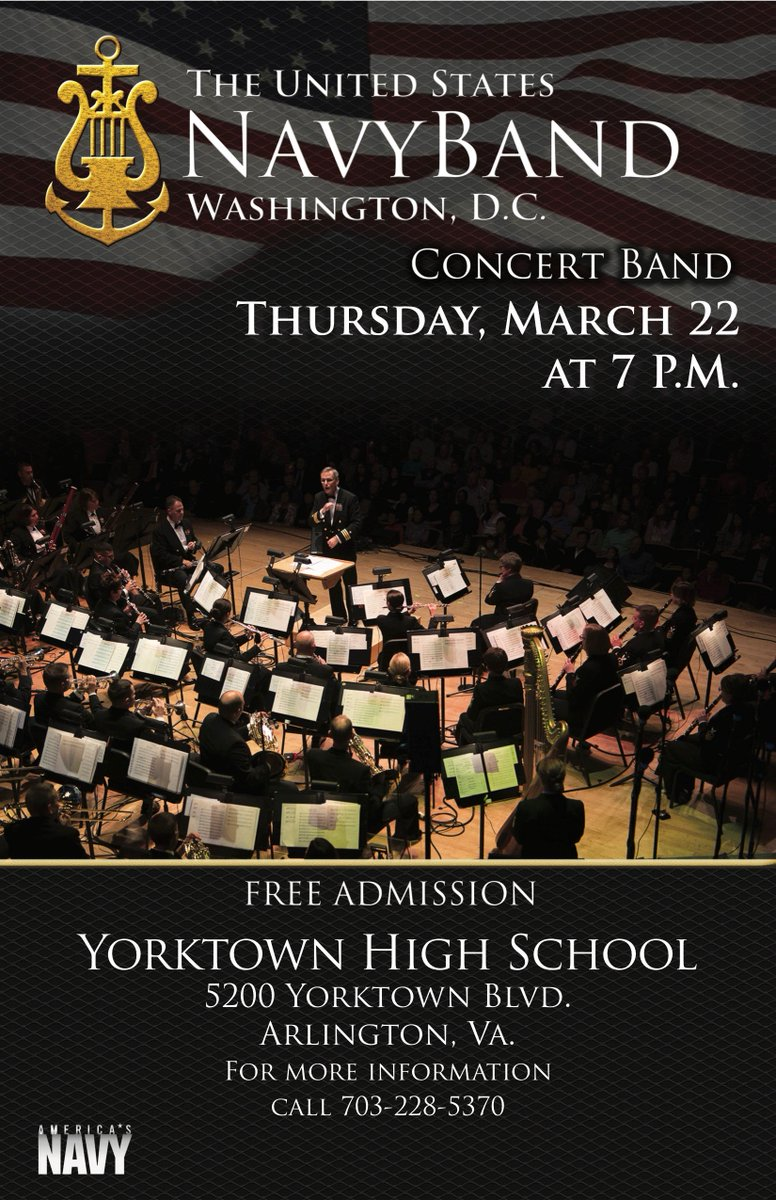 The <a target='_blank' href='http://twitter.com/usnavyband'>@usnavyband</a> will be performing <a target='_blank' href='http://twitter.com/YorktownHS'>@YorktownHS</a> on March 22. The free concert, honoring veterans, begins at 7 p.m. <a target='_blank' href='http://search.twitter.com/search?q=APSArtsInspires'><a target='_blank' href='https://twitter.com/hashtag/APSArtsInspires?src=hash'>#APSArtsInspires</a></a> <a target='_blank' href='https://t.co/5ZLmu3LFPH'>https://t.co/5ZLmu3LFPH</a>