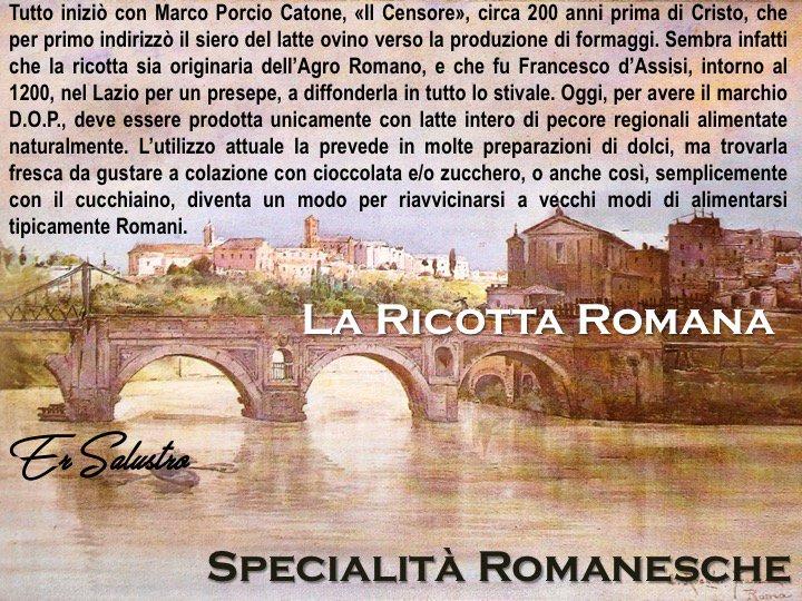 #RomeIsUs #Roma #romanesco E venerdì, e a granni zompi savvicina lora de cena. E quer momento in cui ce saricorda de quello che se magnava na vorta, sapori che sò mezzammezzi scomparzi, ma che quanno ce sta loccasione de aritrovalli, tocca fionnaccese. La ricotta Romana.