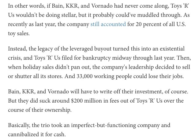 Toys R Us as a metaphor for our overly financialized economy https://t.co/6NMjiZx81Y