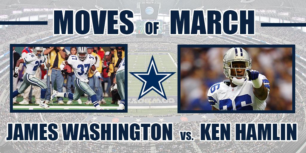Time to vote for the next #DallasCowboys Moves of March bracket challenge! #MarchMadness   Round 1, Matchup 2: James Washington vs. @ken_hamlin   VOTE ➡️ https://t.co/GenzHupB9s