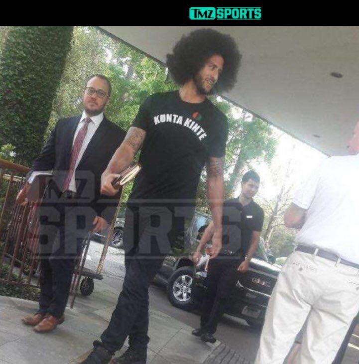 Colin Kaepernick attended Texans owner Bob McNair's collusion case deposition in Houston wearing a KUNTA KINTE T-shirt. Kunta Kinte is a character in Alex Haley's Roots: a west African man born in 1750 who repeatedly resisted enslavement by an American slaveowner.