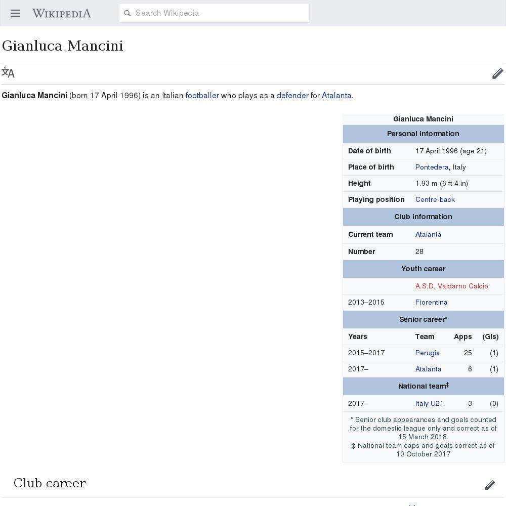 """""""Gianluca Mancini"""": 309 views/day, 18% complete. https://en.wikipedia.org/wiki/Gianluca_Mancini?veaction=edit&summary=%23FixmeBot #JuveAtalanta  - Ukustom"""