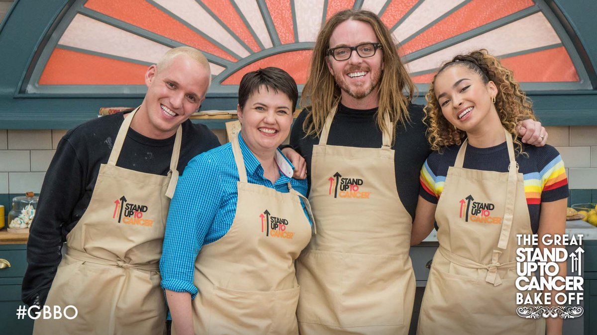 Four celebrities, three challenges, and one amazing cause. Join @TimMinchin, @RuthDavidsonMSP, @EllaEyre and @JamieLaing_UK for The Great Celebrity Bake Off for Stand Up To Cancer tomorrow at 8pm on @Channel4. #GBBO