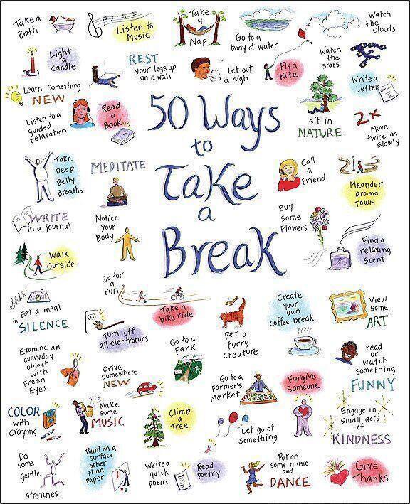 Weekend tips - '50 ways to take a break'.  #FridayFeeling #weekend #fun #stressrelief RT @artistpoint